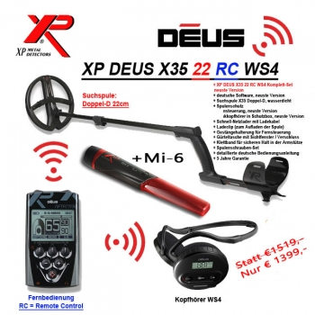 XP DEUS X35 22 RC WS4 Aktions Pack!!!! + Mi-6 Pinpointer!!!